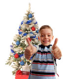 Happy boy against a christmas tree Stock Image