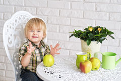 Happy boy and apples Stock Images