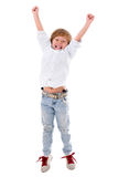 Happy boy with arms up Stock Photo