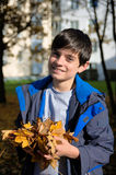Happy boy with autumn leaves Royalty Free Stock Photography