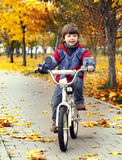 Happy boy in autumn park rides his bike Royalty Free Stock Photo
