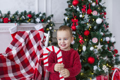 Happy boy on background of Christmas fir-tree and  decorations. Stock Photo