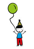 Happy boy with balloon drawn isolated icon design. Illustration  graphic Royalty Free Stock Photos