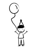 Happy boy with balloon drawn isolated icon design. Illustration  graphic Stock Photos