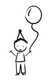 Happy boy with balloon drawn isolated icon design. Illustration  graphic Stock Photography