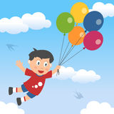 Happy Boy with Balloons Stock Photos
