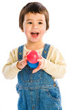 Happy Boy balls. Happy Boy with two balls Royalty Free Stock Photo