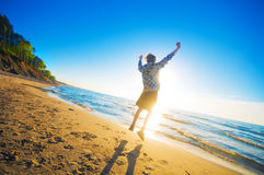 Happy boy on the beach Royalty Free Stock Photo