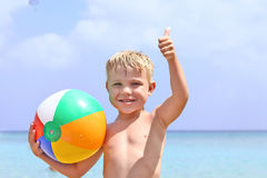 Happy boy with beach ball Royalty Free Stock Photography