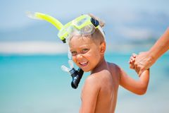 Happy boy on beach Royalty Free Stock Images