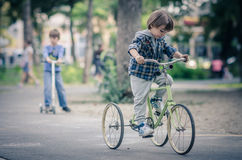 Happy boy with bicycle Royalty Free Stock Photos