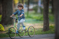 Happy boy with bicycle Stock Photography