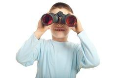 Happy boy with binocular Stock Image