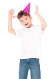 Happy boy in birthday cap Stock Image