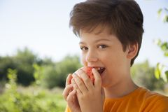 Happy boy biting the apple, A child with a fruit. Kid eating fresh pear.  stock images