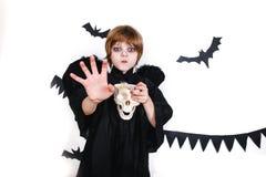 Happy boy in a black angel costume having fun Royalty Free Stock Photos