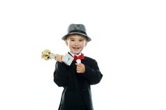 Happy boy in black suit Stock Image