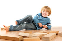 Happy Boy with blocks Royalty Free Stock Image