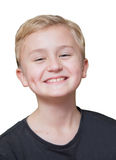 Happy boy. Boy blond with a cheerful expression on his face, isolated on white Stock Photo