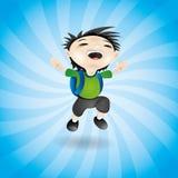 Happy boy on blue. Royalty Free Stock Photo