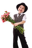 Happy boy with a bouquet of carnations Stock Photos