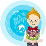Happy boy with bouquet flowers stand near blue background, with letters and paintings, back to school, white chalk. Color picture cartoon character of a happy Stock Photography
