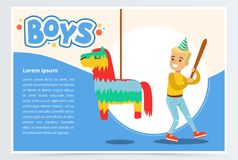 Happy boy breaking Pinata with a baseball bat, cute kid celebrating his birthday, boys banner flat vector element for Royalty Free Stock Images