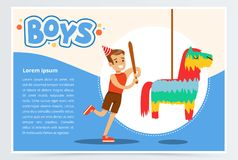 Happy boy breaking Pinata with a baseball bat at his a birthday party, boys banner flat vector element for website or Royalty Free Stock Photos