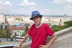 Happy boy in Budapest Royalty Free Stock Photo