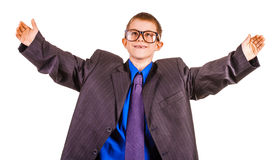 Happy boy businessman in big suit. isolated Stock Image