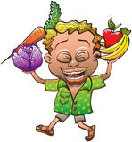 Happy Boy Carrying Fruits and Vegetables Stock Photos