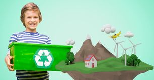 Happy boy carrying recycling crate by low poly cliff Royalty Free Stock Photography