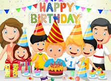 Happy boy cartoon blowing birthday candles with his family and friends. Illustration of Happy boy cartoon blowing birthday candles with his family and friends Royalty Free Stock Image