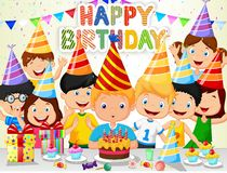 Happy boy cartoon blowing birthday candles with his friends Royalty Free Stock Photos
