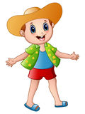 Happy boy cartoon with summer clothes and a hat Stock Photography