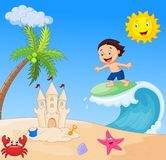 Happy boy cartoon surfing Royalty Free Stock Images