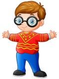 Happy Boy Cartoon Wearing Red Christmas Sweater Stock Image