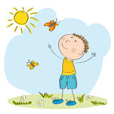 Happy boy catching butterflies. Original hand drawn illustration of happy boy catchingbutterflies Stock Photos