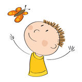 Happy boy catching butterfly. Original hand drawn illustration of appy boy catching butterfly Royalty Free Stock Photos