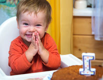 Happy boy celebrates his first birthday. At home Stock Photo