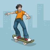 Happy boy character skate boarding. Abstract urban background, color illustration Royalty Free Stock Images