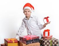 Happy boy with christmas gift box. Stock Images