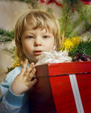 Happy boy with christmas gift. Near Christmas tree Royalty Free Stock Photo