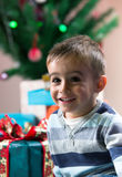Happy boy with christmas gift under the tree at home Royalty Free Stock Photography