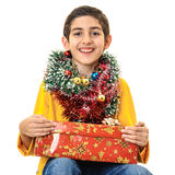 Happy boy with Christmas presents Stock Images