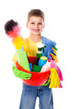 Happy boy with cleaning tools Royalty Free Stock Photo