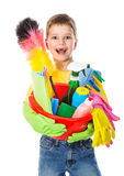 Happy boy with cleaning tools Stock Images