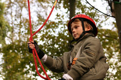Happy boy climbing in adventure park Stock Photography