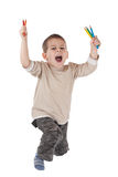 Happy boy with color pencils Royalty Free Stock Image