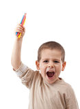 Happy boy with color pencils Royalty Free Stock Photos